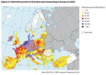 De Nederlandse bodem is het meest verontreinigd met stikstof en fosfaat van alle Europese landen