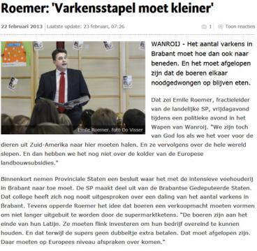 Roemer: 'Veestapel moet kleiner'